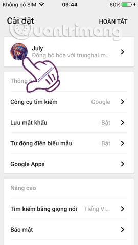 Tài khoản Chrome trên iPhone