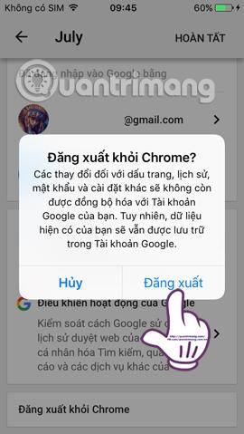 Thoát tài khoản Google trên iPhone