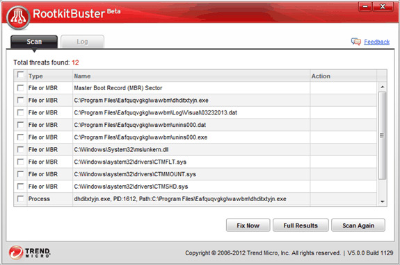 Giao diện của Trend Micro RootkitBuster