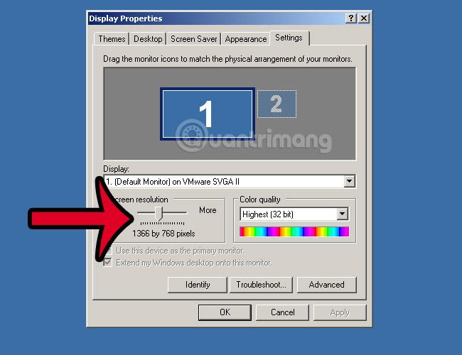 chỉnh độ phân giải windows xp