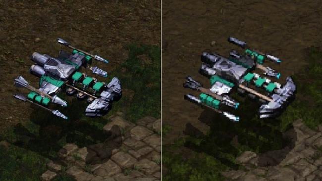 Battlecruiser của Terran mới (trái) và cũ (phải)