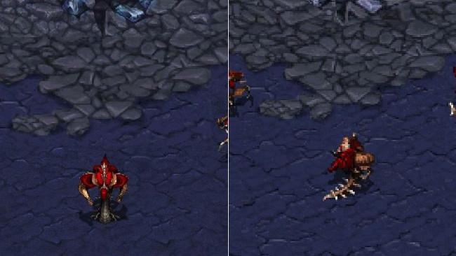 Infantry của Zerg mới (trái) và cũ (phải)