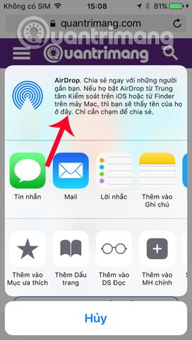 Nhấn chọn tính năng AirDrop