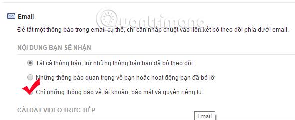 Tắt thông báo Facebook gửi đến Email