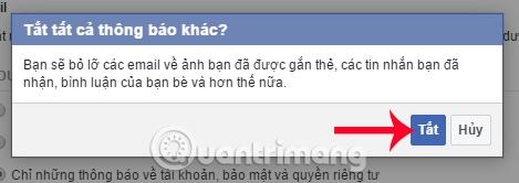 Không nhận thông báo Facebook gửi đến Email