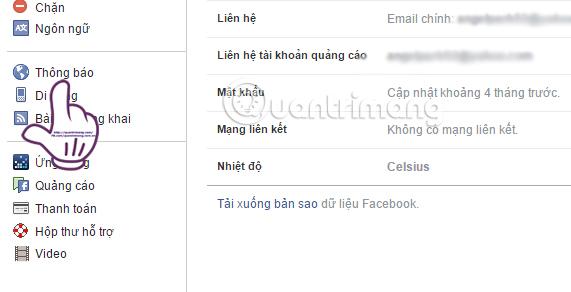 Mục Thông báo trên Facebook