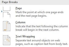 Lựa chọn Page Breaks thích hợp trong Word
