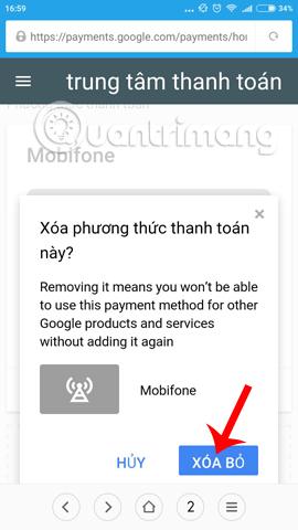Hủy dịch vụ mua ứng dụng bằng Mobifone