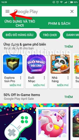 Tùy chọn trên giao diện Play Store