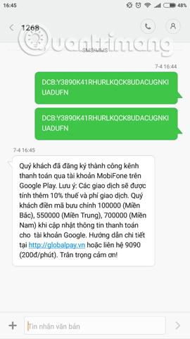 Tin nhắn xác nhận đăng ký dịch vụ