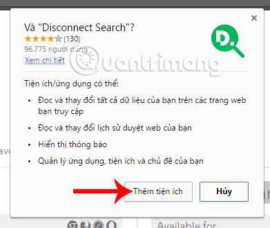 Cài đặt tiện ích tìm kiếm Disconnect Search