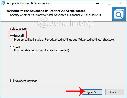 Cài đặt Advanced IP Scanner