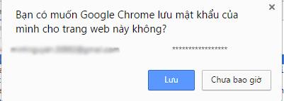Gợi ý lưu mật khẩu trên trình duyệt web