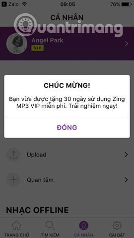 30 ngày miễn phí Zing VIP