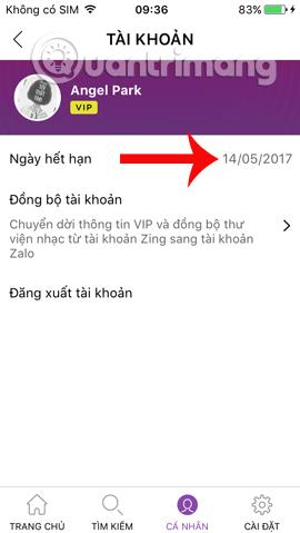 Thời hạn tài khoản Zing VIP