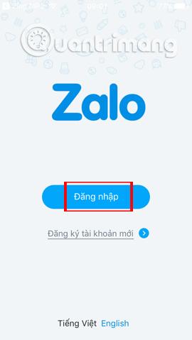 Giao diện đăng nhập Zalo