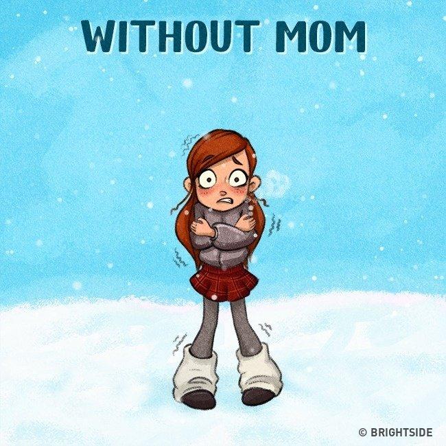 Còn sống xa mẹ, mùa đông mà ra đường là lạnh thấu xương luôn.