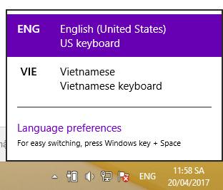 Thay đổi ngôn ngữ bàn phím trên Windows 10