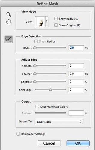 Các công cụ trong cửa sổ Refine Mask