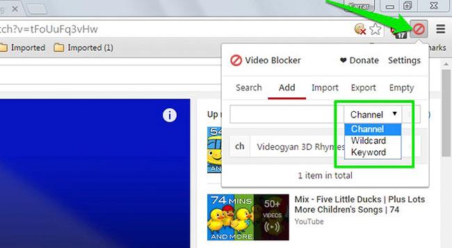 Các lựa chọn chặn video nhất định