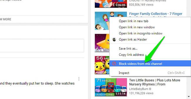 Chặn tất cả video từ một kênh
