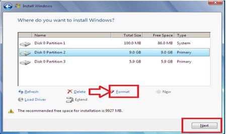 Format lại ổ đĩa cài đặt hệ điều hành