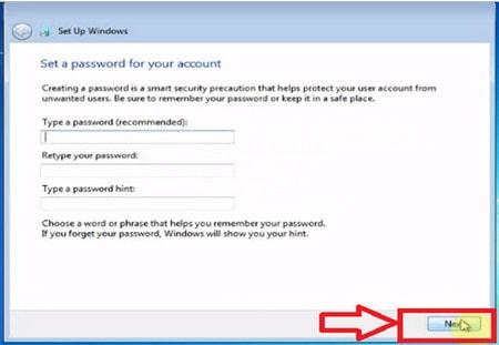 Nhập mật khẩu cho hệ thống