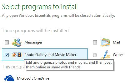 Chọn chương trình cài đặt Photo Gallery and Movie Maker