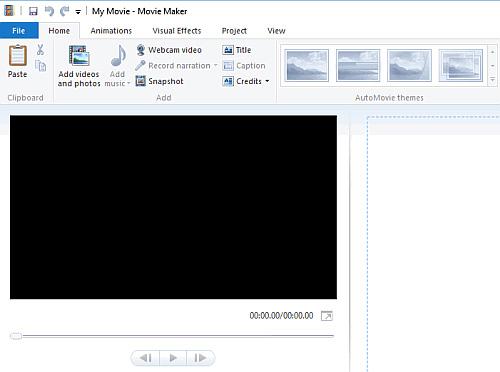Giao diện Windows Movie Maker
