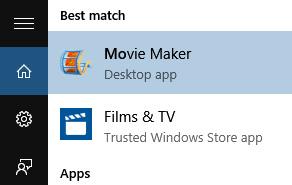 Tìm Movie Maker trong Search box