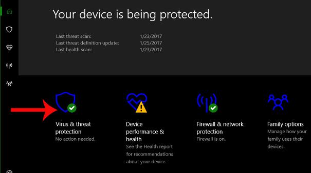 Nhấn chọn Virus & threat protection