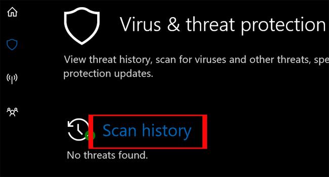 Lịch sử quét trên Windows Defender