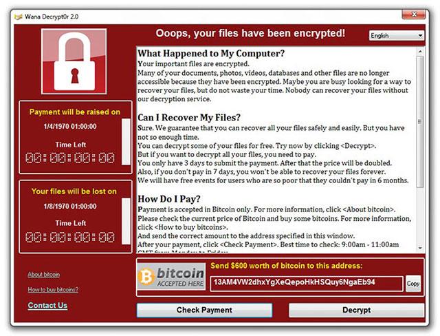 Màn hình máy tính nhiễm WannaCry