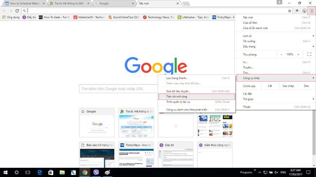 Mở phần cài đặt mở rộng của Chrome.