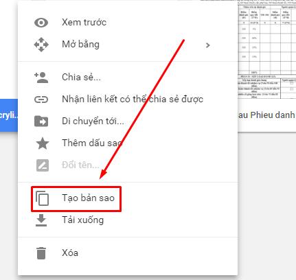 Tạo bản sao file trên Google Drive
