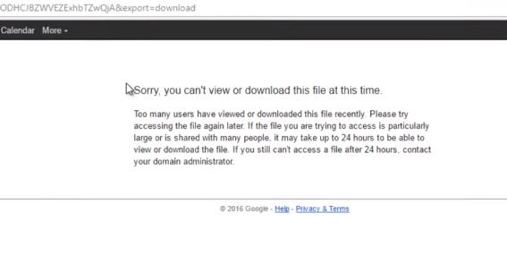 Thông báo lỗi quá giới hạn tải file Drive