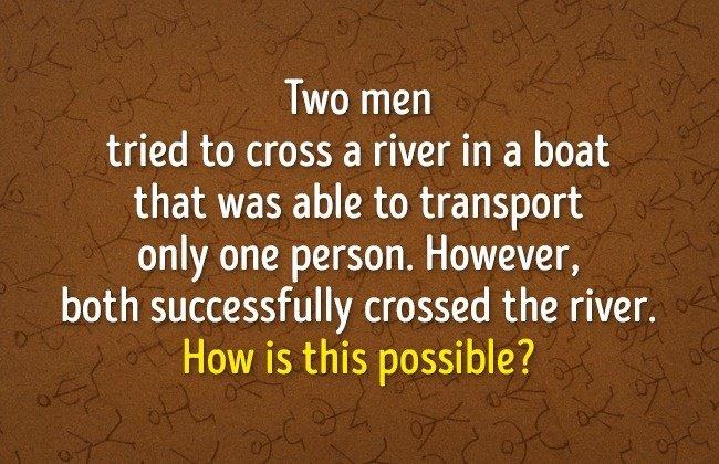 Hai người đàn ông đang cố gắng đi qua sông bằng một chiếc thuyền.