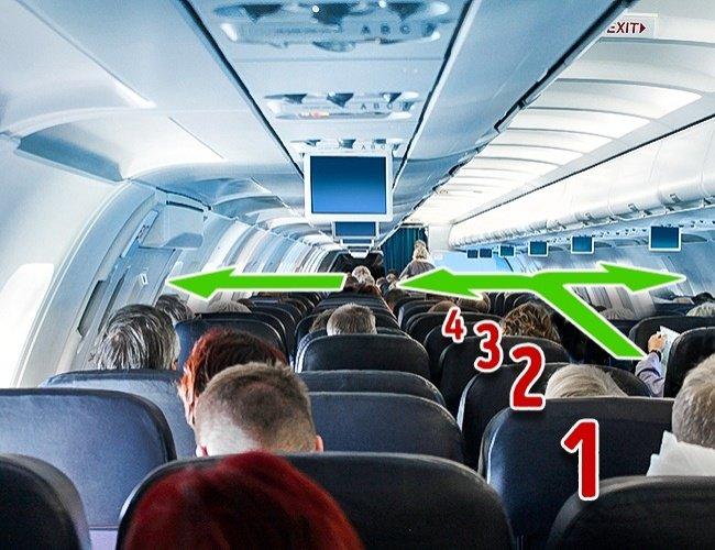 Hãy đếm số hàng dẫn đến lối thoát hiểm trên máy bay