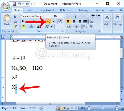 Tạo chỉ số dưới trong Word 2007