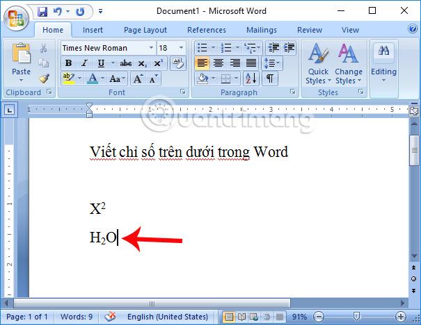 Tạo chỉ số dưới trong Word
