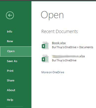 Menu File của Excel Online