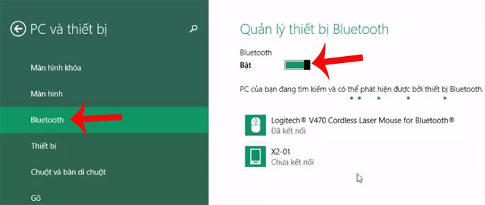 Bật Bluetooth trên Windows 8