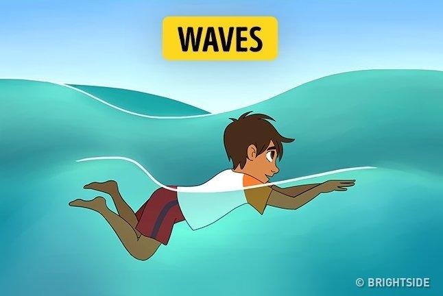Nếu sóng vỗ bập bềnh xung quanh bạn, tốt nhất nên bơi sấp