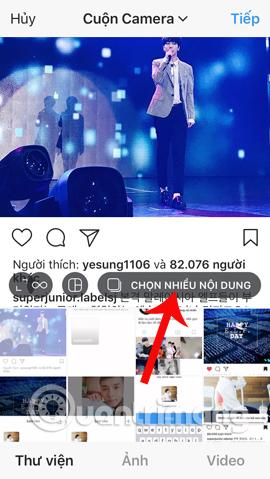Chọn nhiều file đăng trên Instagram