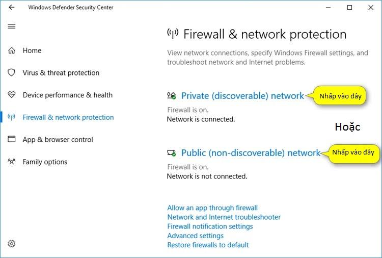 Bật/tắt Windows trong Windows Defender Security