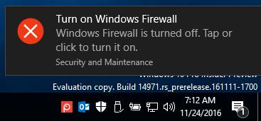 Thông báo bật tường lửa từ Windows