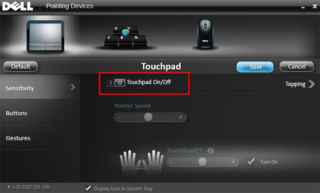 Bật tắt touchpad trên máy tính Dell