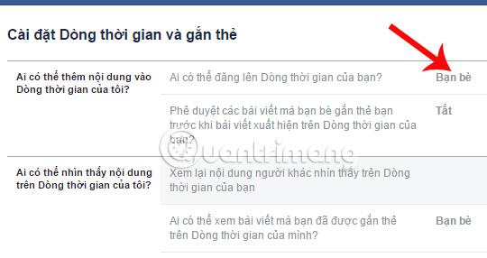 Chế độ bạn bè post bài lên Facebook