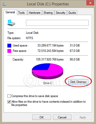 Chọn Disk Cleanup