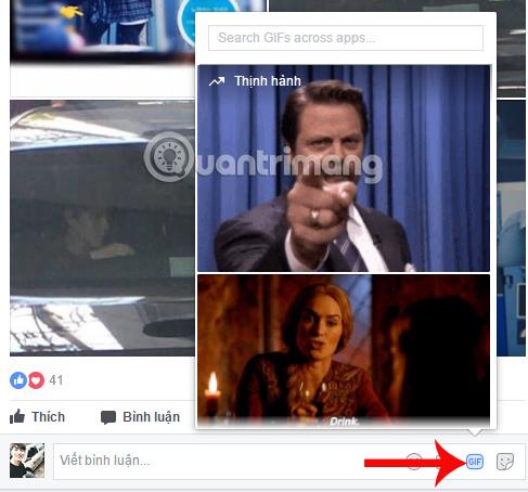 Biểu tượng GIF bình luận Facebook
